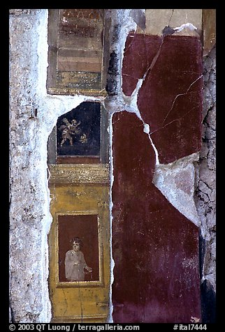 Detail on a wall of Villa Vettii. Pompeii, Campania, Italy (color)