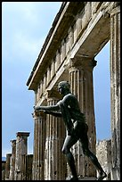 Statue and temple of Apollon. Pompeii, Campania, Italy (color)
