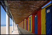 Changing rooms and beach, Paestum. Campania, Italy (color)