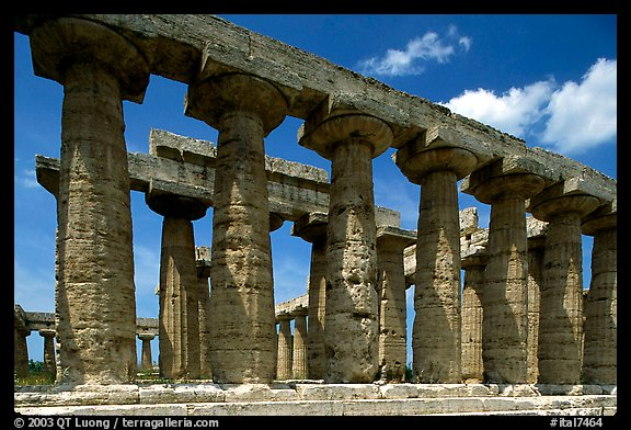 Columns of Greek Temple of Neptune. Campania, Italy (color)