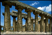 Columns of Greek Temple of Neptune. Campania, Italy ( color)