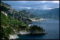 Coastline with Amalfi in the background. Amalfi Coast, Campania, Italy
