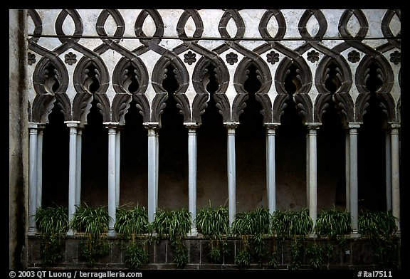 Gothic columns in Villa Rufolo, whose last resident was Richard Wagner, Ravello. Amalfi Coast, Campania, Italy (color)
