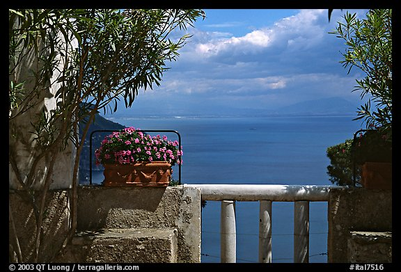 Sea seen from a terrace of Villa Rufulo, Ravello. Amalfi Coast, Campania, Italy (color)