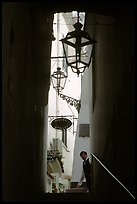Narrow stairway with formally dressed man and hotel sign,  Amalfi. Amalfi Coast, Campania, Italy (color)