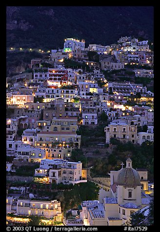 Houses on steep hill at sunset, Positano. Amalfi Coast, Campania, Italy (color)