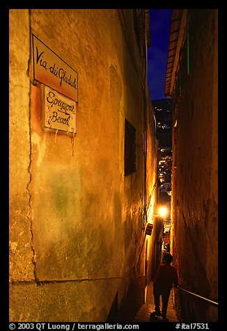 Narrow stairway at night, Positano. Amalfi Coast, Campania, Italy (color)