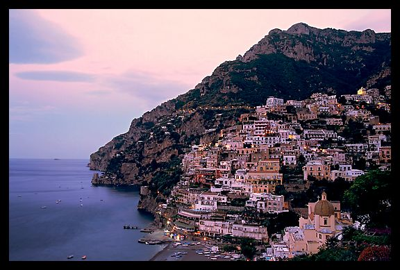 Positano at dawn. Amalfi Coast, Campania, Italy (color)