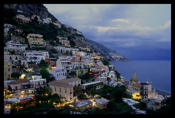 Positano lights coming up at dusk. Amalfi Coast, Campania, Italy (color)