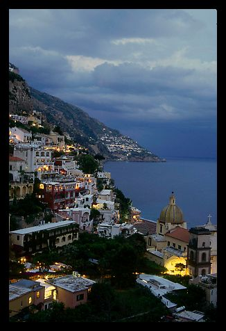 Positano and Mediterranean  at dusk. Amalfi Coast, Campania, Italy (color)