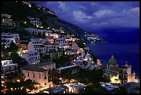 Positano and Mediterranean before nightfall. Amalfi Coast, Campania, Italy
