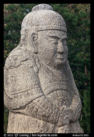 Stone figure of civil official, Seolleung, Samreung Gongwon. Seoul, South Korea (color)