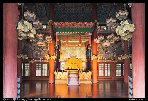 Throne room, Changdeokgung Palace. Seoul, South Korea (color)