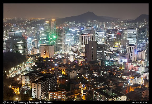 Elevated view of Jung Gu high-rises from Namsan. Seoul, South Korea (color)