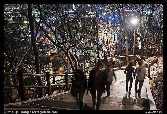 People on Namsan stairs by night. Seoul, South Korea (color)