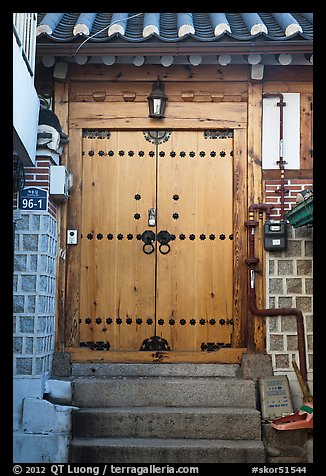 Wooden door, Bukchon Hanok Village. Seoul, South Korea (color)