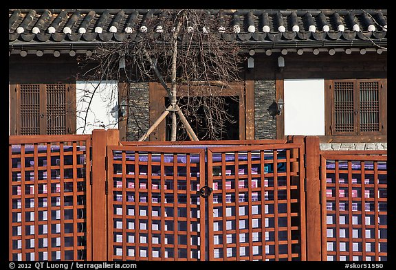 Traditional house facade and fence. Seoul, South Korea (color)