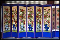 Folding screen, Jaegung, Jongmyo. Seoul, South Korea
