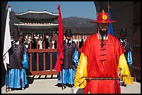 Guards in Joseon-period costumes, Gyeongbokgung. Seoul, South Korea (color)
