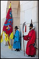 Guards in Joseon-period uniforms, Gyeongbokgung. Seoul, South Korea (color)