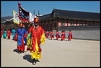 Royal guards marching, Gyeongbokgung palace. Seoul, South Korea (color)