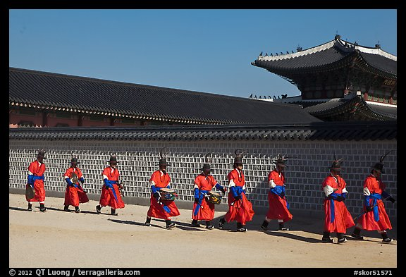Military band marching, Gyeongbokgung palace. Seoul, South Korea (color)
