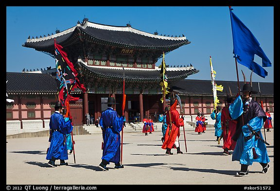 Ceremony of gate guard change, Gyeongbokgung palace. Seoul, South Korea (color)