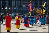Changing of the Guard ceremony in front of Gyeongbokgung palace. Seoul, South Korea (color)
