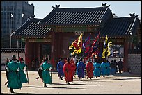 Ceremony of gate guard change, Gyeongbokgung. Seoul, South Korea (color)