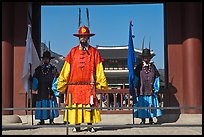 Royal guards, Heugnyemun gate, Gyeongbokgung. Seoul, South Korea (color)