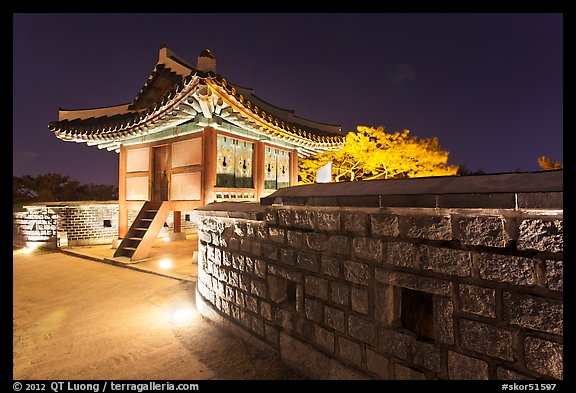 Seoporu (western sentry post) at night, Suwon Hwaseong Fortress. South Korea (color)