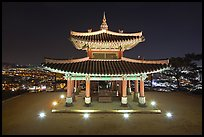 Seojangdae (western command post) and city lights, Suwon. South Korea (color)