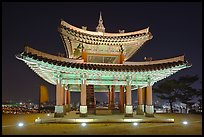 Seojangdae (western command post) at night, Suwon Hwaseong Fortress. South Korea (color)