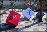 Sculptures celebrating city choice as world design capital. Seoul, South Korea (color)