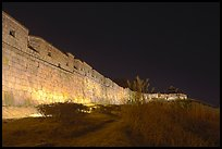 Suwon Hwaseong Fortress wall at night. South Korea (color)