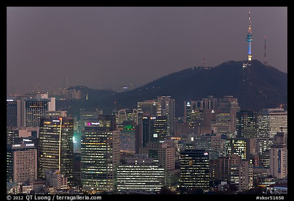 City skyline and Namsan hill at night. Seoul, South Korea