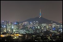 Seoul skyline with N Seoul Tower at night. Seoul, South Korea (color)