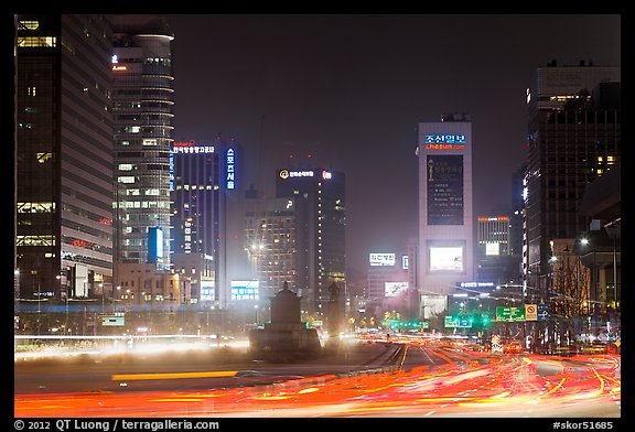 Large boulevard, lights, and high rises. Seoul, South Korea (color)