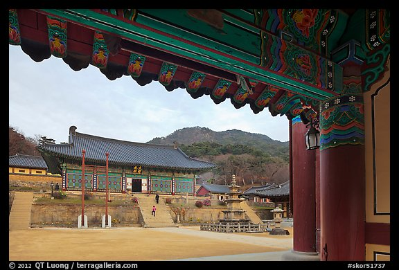 Haeinsa Temple framed by entrance gate. South Korea (color)