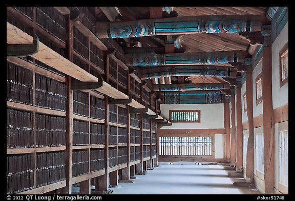Tripitaka Koreana Woodblocks inside Janggyeong Panjeon, Haeinsa Temple. South Korea (color)