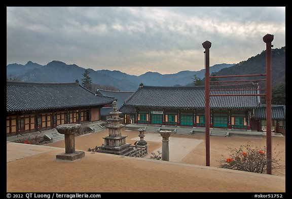 Haeinsa Temple and Gaya Mountains, evening. South Korea (color)