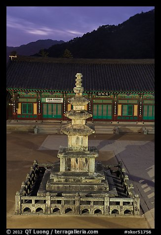 Stone pagoda at dusk, Haeinsa Temple. South Korea (color)