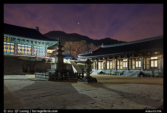 Haeinsa Temple at night. South Korea (color)