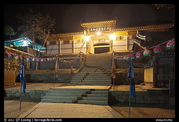 Main gate of Haein-sa Temple at night. South Korea (color)