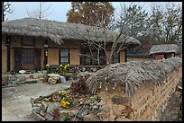 House and fence with straw roofing. Hahoe Folk Village, South Korea (color)