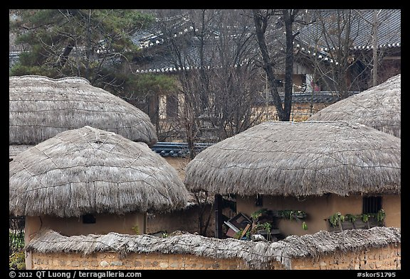 Straw roofing. Hahoe Folk Village, South Korea (color)