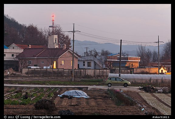 Cultivation and church on outskirts of Andong. South Korea (color)
