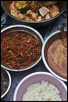 Dishes with kimchee ingredients. Gyeongju, South Korea (color)
