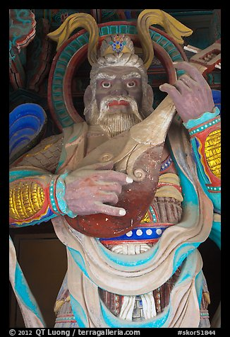 Wooden statue with musical instrument, Bulguk-sa. Gyeongju, South Korea (color)