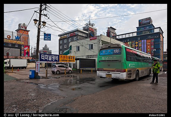 Bus stop and motels. Gyeongju, South Korea (color)
